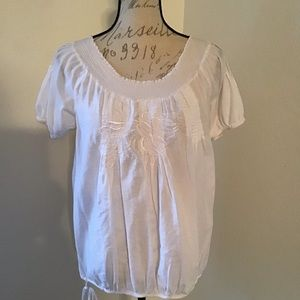 Love Stitch-White Cotton Embroidered Peasant Top